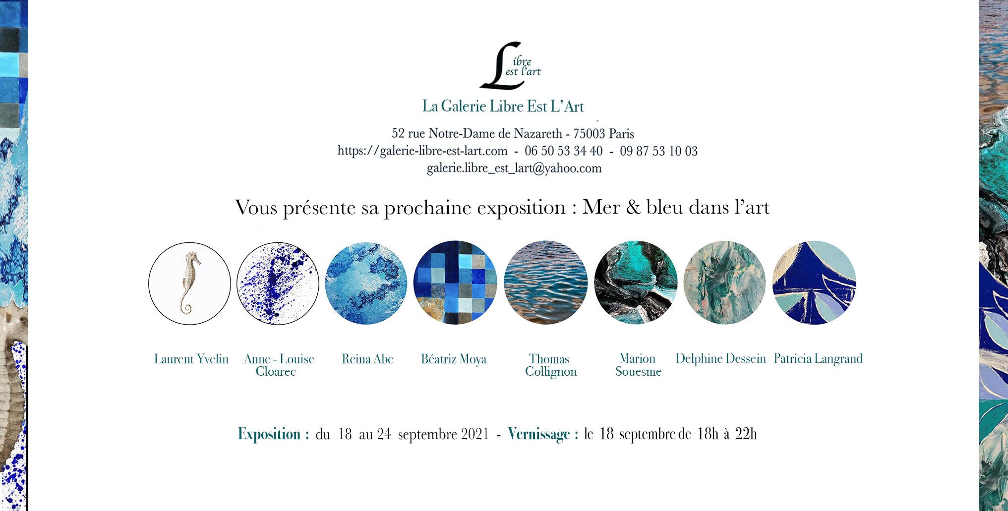 Expo collective bleu dans l'art galerie libre est l'art