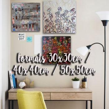 Peintures Formats 30x30cm / 40x40cm / 50x50cm | Artiste peintre contemporain Delphine Dessein