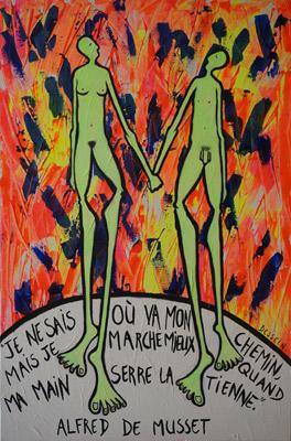 """""""La balade"""" (Alfred de Musset) Peint par l'artiste peintre Delphine Dessein"""