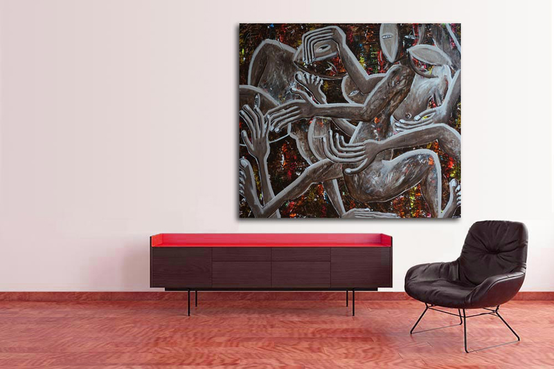 Charivari by Delphine Dessein. contemporary paintings fluorescent.