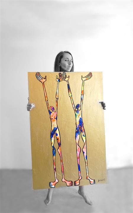 Autoportrait en effervescence de l'artiste peintre contemporain delphine dessein. tableaux grand format.
