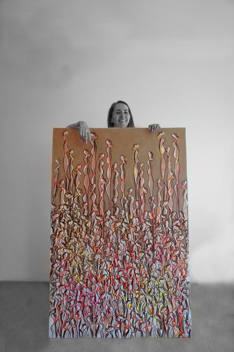 autoportrait foule de Nématoïdes. Peinture acrylique fluo moderne,néofigurative.
