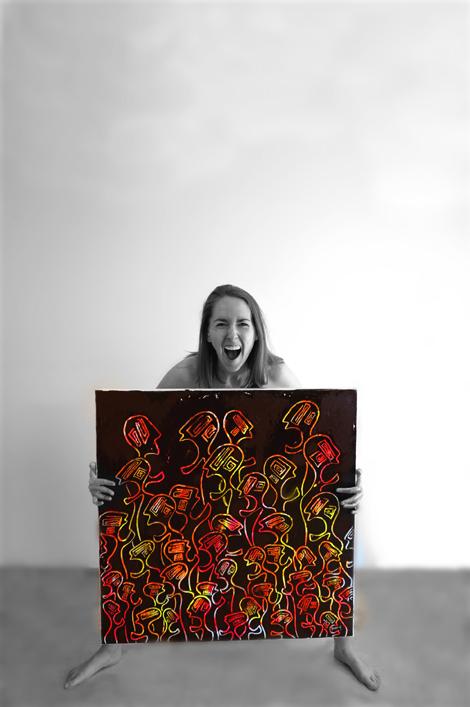 Autoportrait avec une Foule de Nématoïdes. Peintures contemporaine figurative fluo.